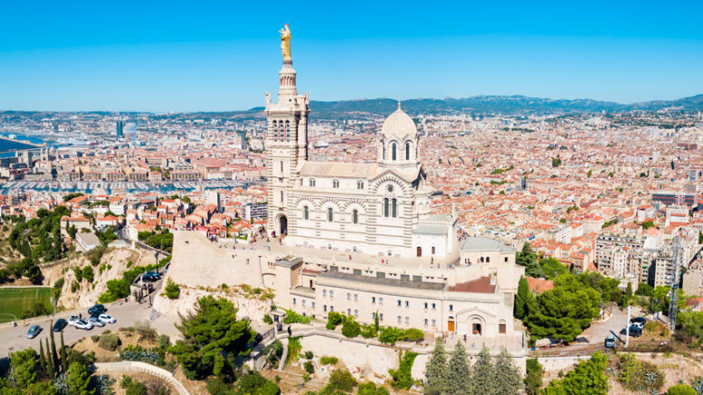 Notre Dame de la Garde or Our Lady of the Guard aerial view, it is a catholic church in Marseille city in France